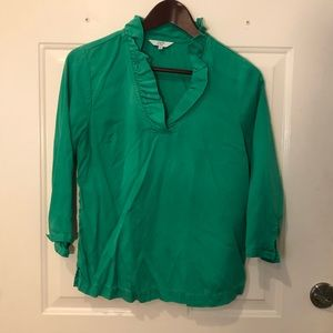 Kelly Green Crown and Ivy Ruffled Blouse